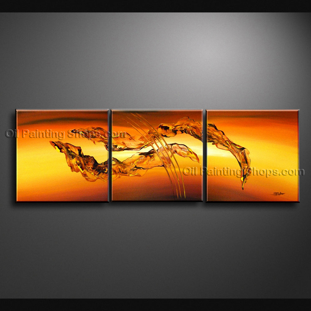Hand Painted Triptych Modern Abstract Painting Wall Art Inner Framed