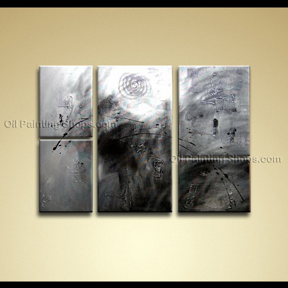 Hand-painted Pentaptych Modern Abstract Painting Wall Art Inner Framed