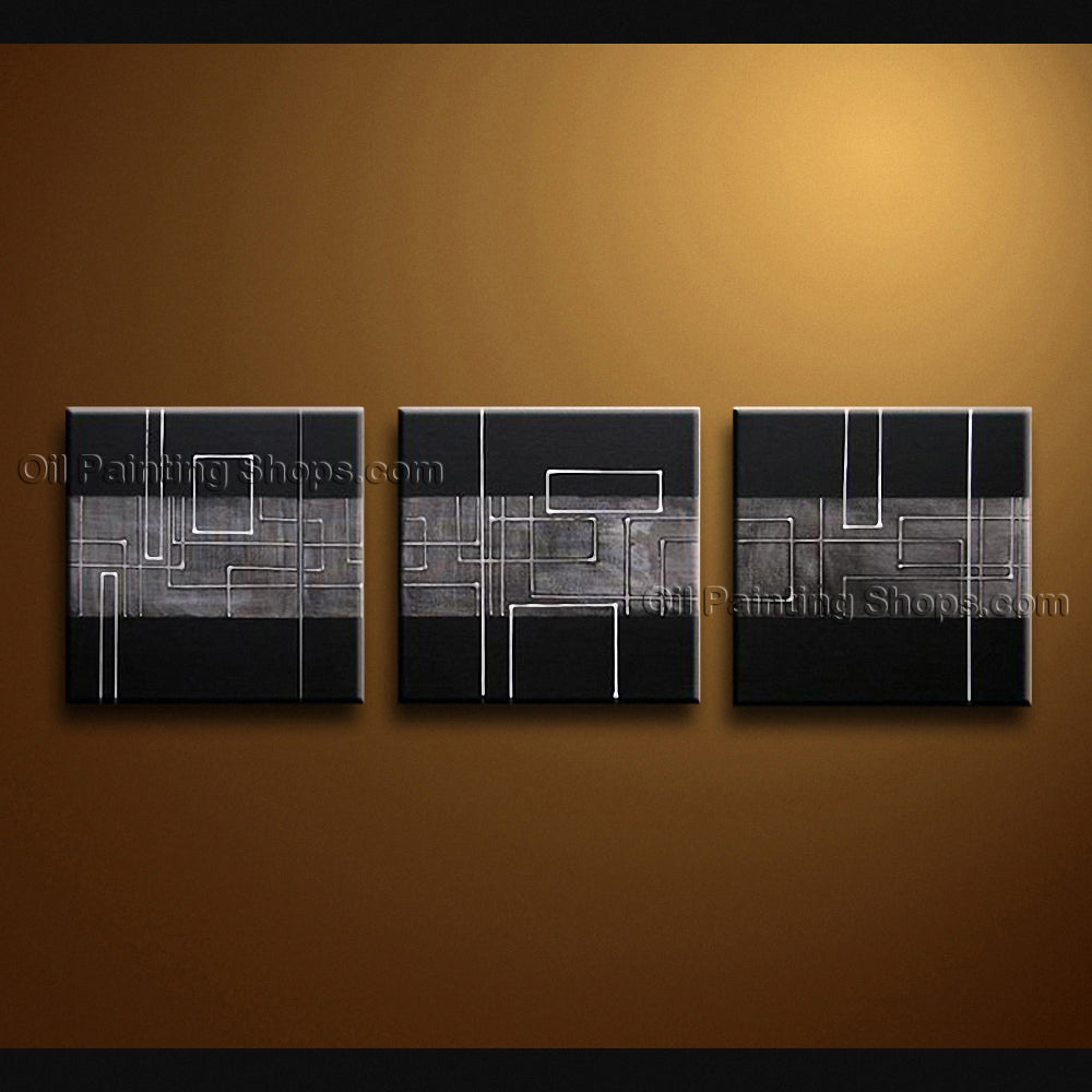 Handmade Artcrafts Triptych Modern Abstract Painting Wall Art Inner Framed