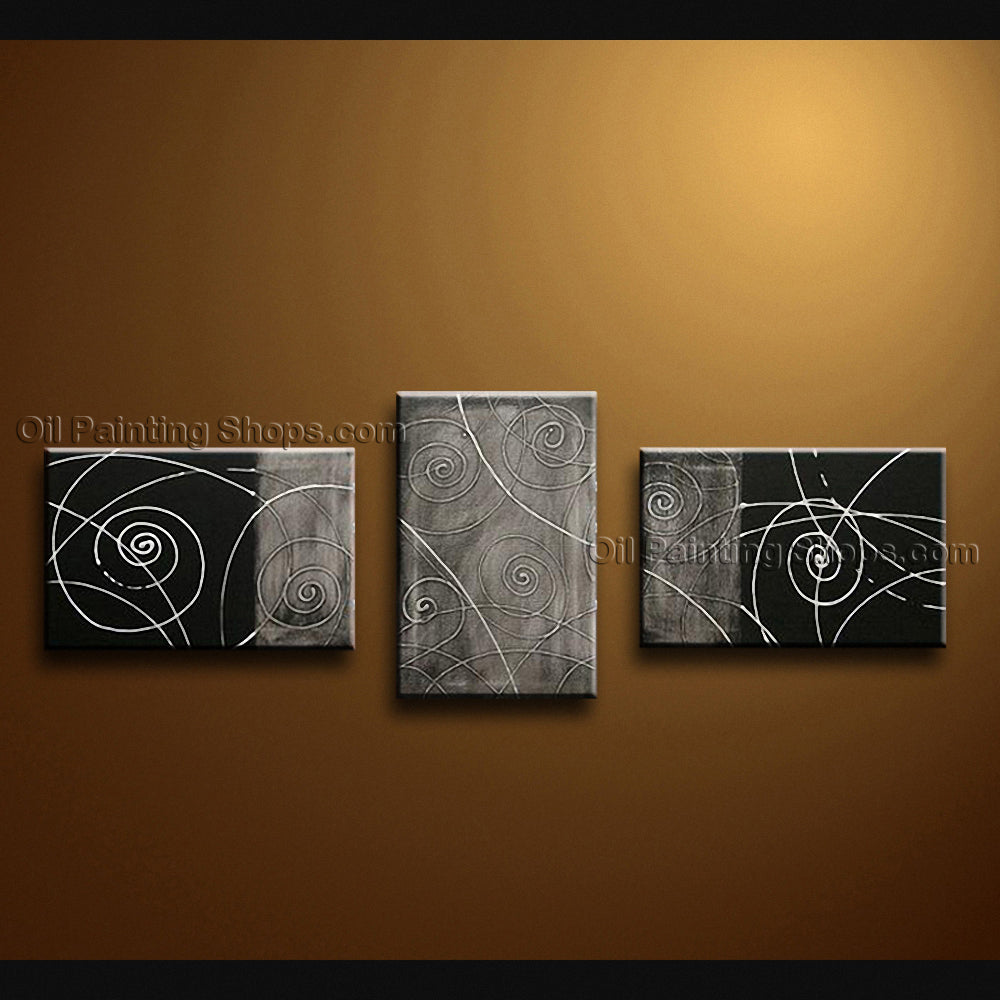 Hand-painted Triptych Modern Abstract Painting Wall Art On Canvas Artworks