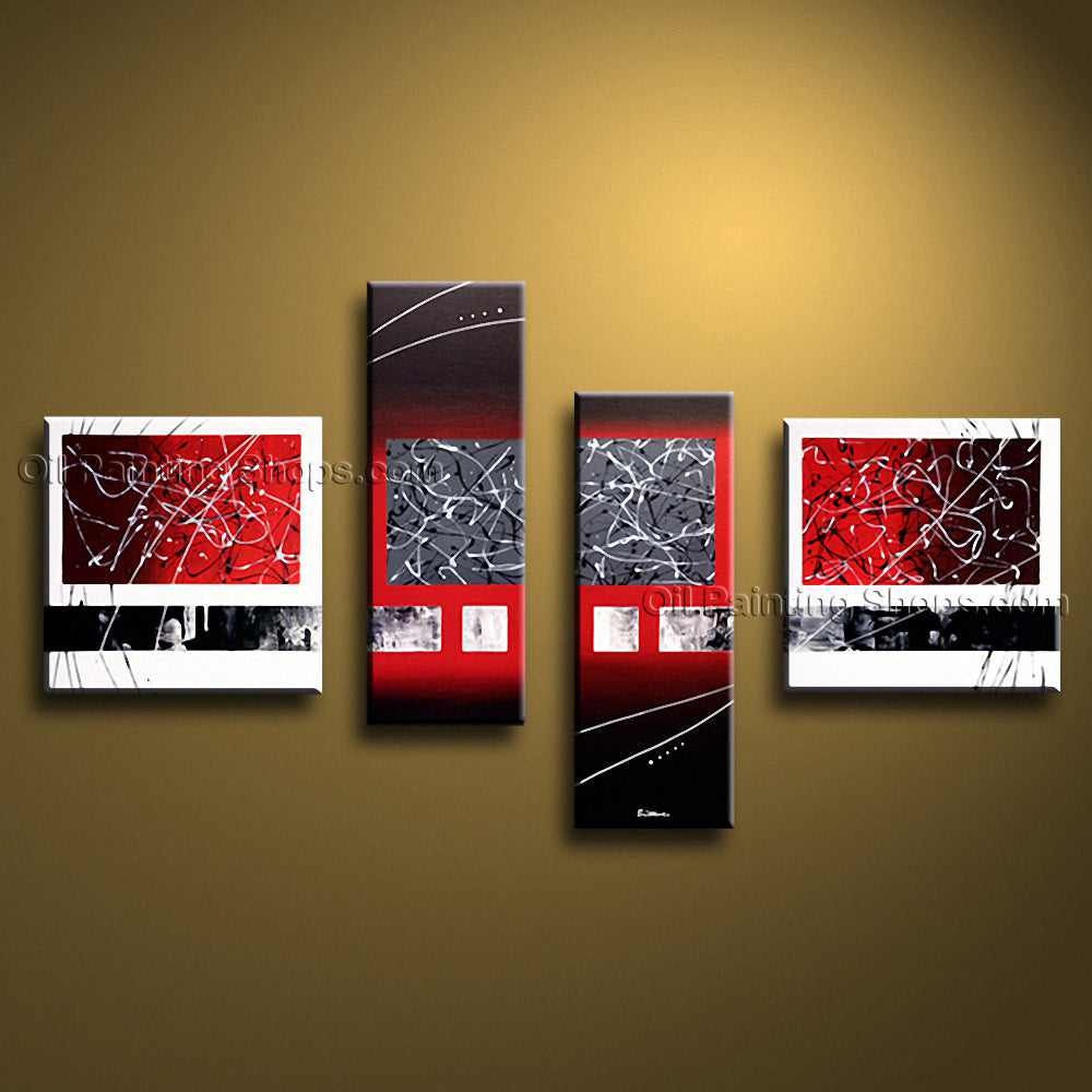 Hand Painted 4 Pieces Modern Abstract Painting Wall Art Interior Design