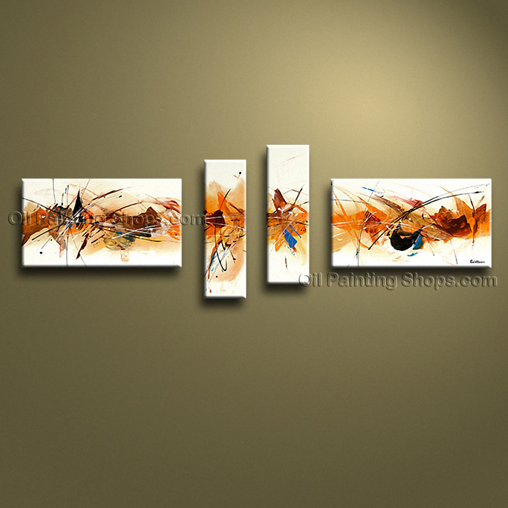 Hand-painted 4 Pieces Modern Abstract Painting Wall Art Inner Stretched