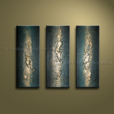 Hand Painted Triptych Modern Abstract Painting Wall Art Ready To Hang