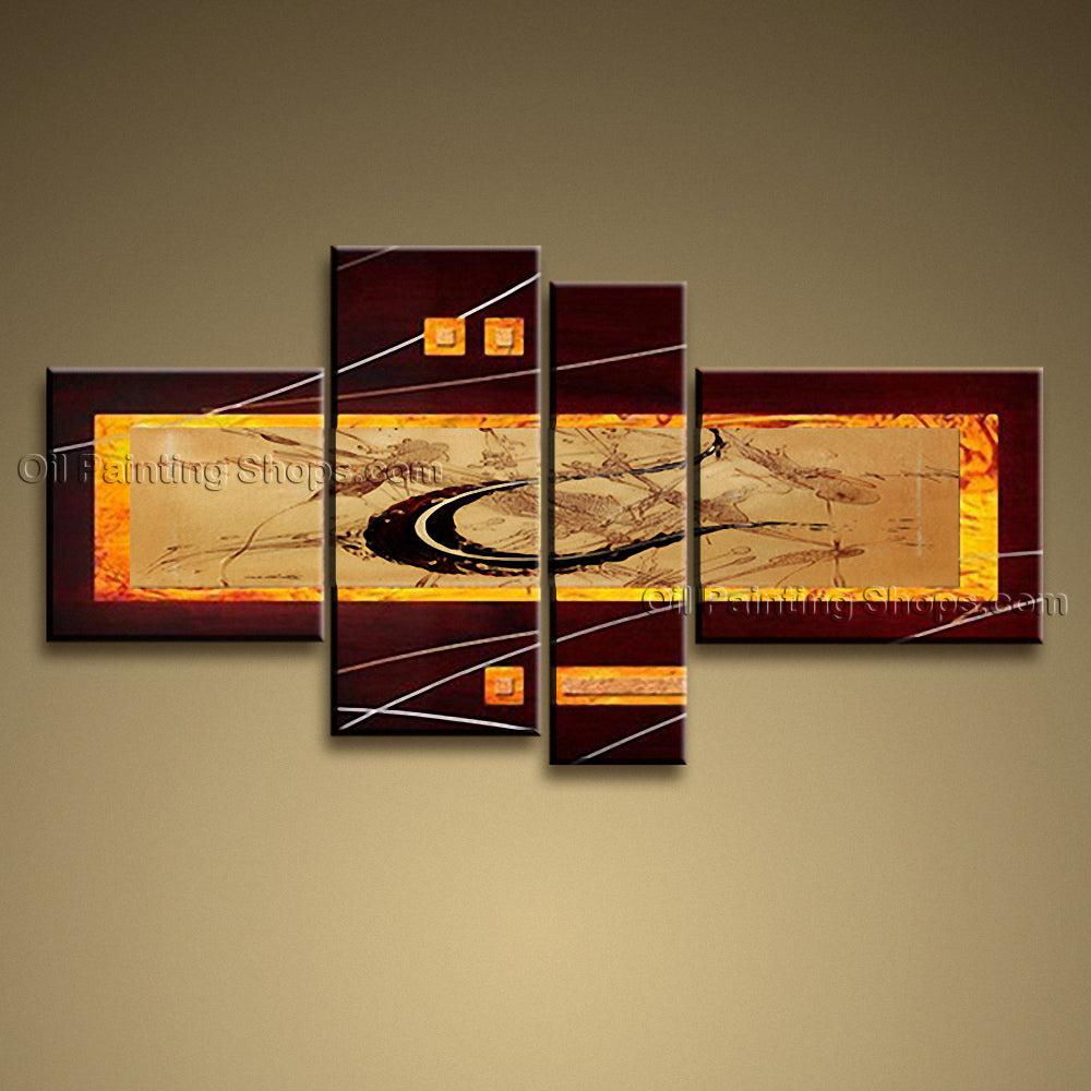 Hand Painted Tetraptych Modern Abstract Painting Wall Art Inner Framed