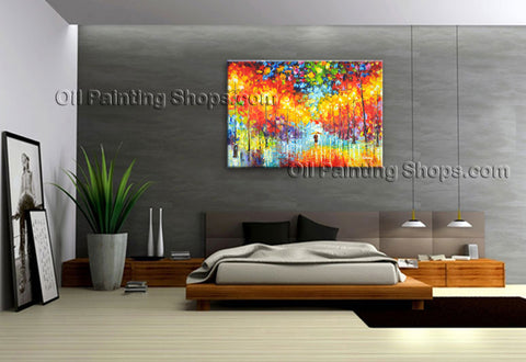 Astonishing Contemporary Wall Art Landscape Painting Park Inner Framed