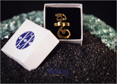 Adjustable Gold Plated Calligraphy Ring (Hich)