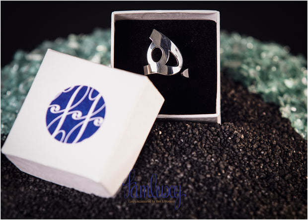 Adjustable Handmade Silver Calligraphy Ring ( هـ)