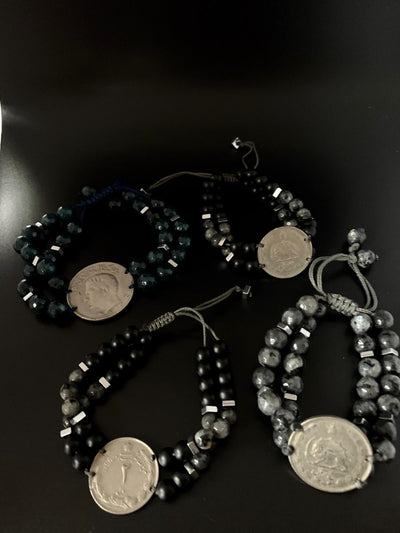 coin bracelet with 2 rows natural stone