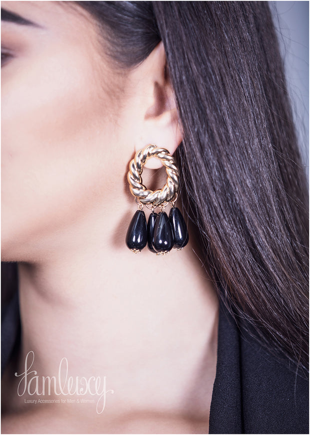 Black And Gold Fancy Earring