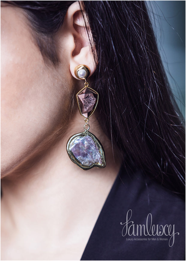Gold plated shiny stone earring