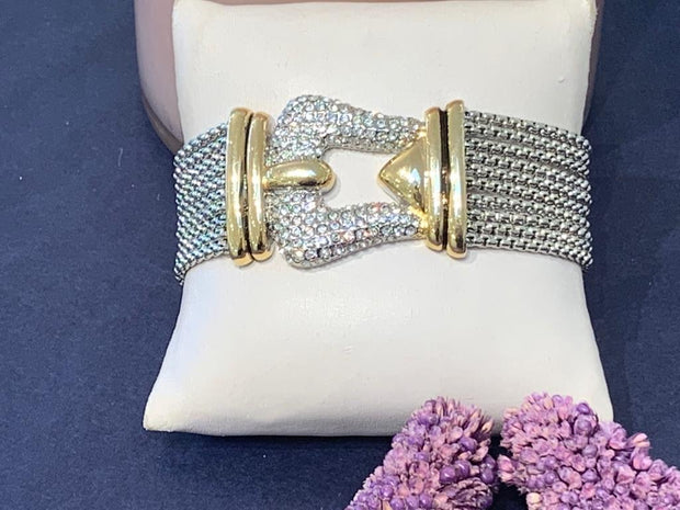 Unique Belt Gold And Silver Bracelet With Zirconia Diamond