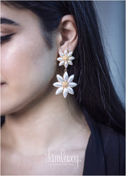 Flower Pearl Gold Plated Earring