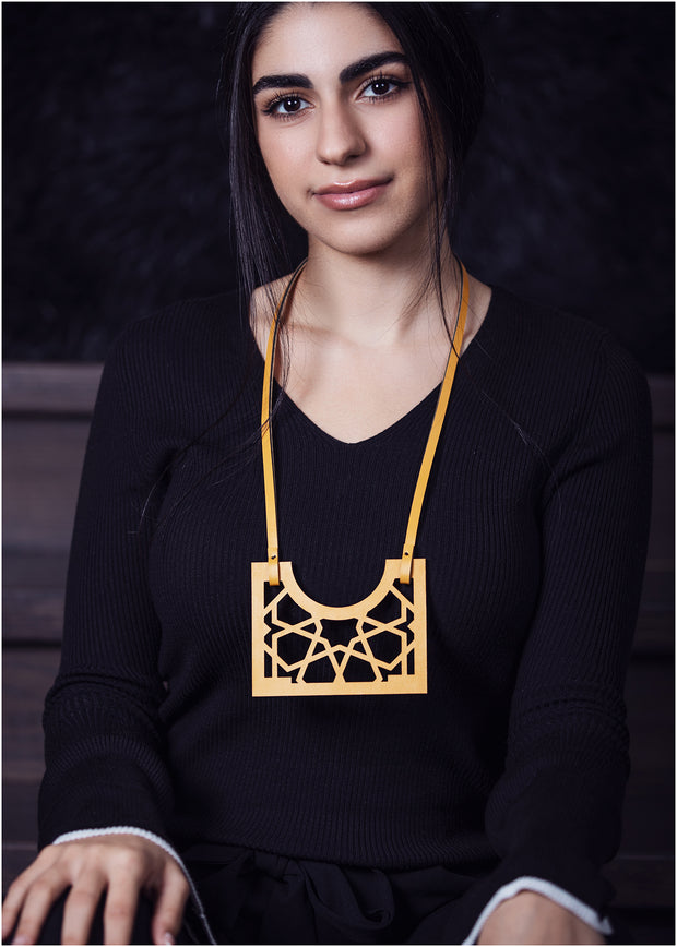 Leather and Plexiglass Necklace