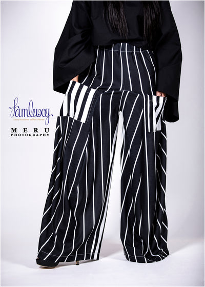 Strip Black and White casual loose pant