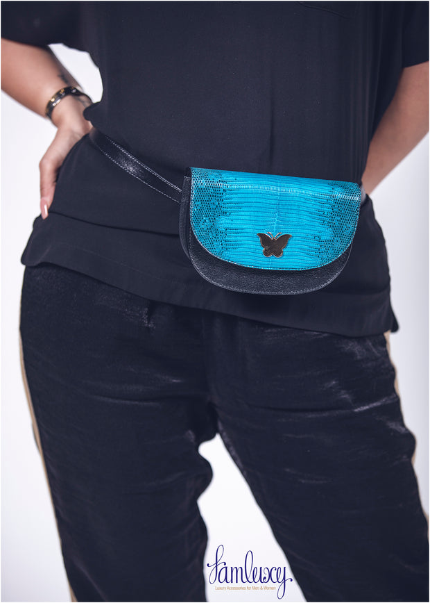 Liliy Mini Belt /Cross Bag; Black Camel with Python Leather