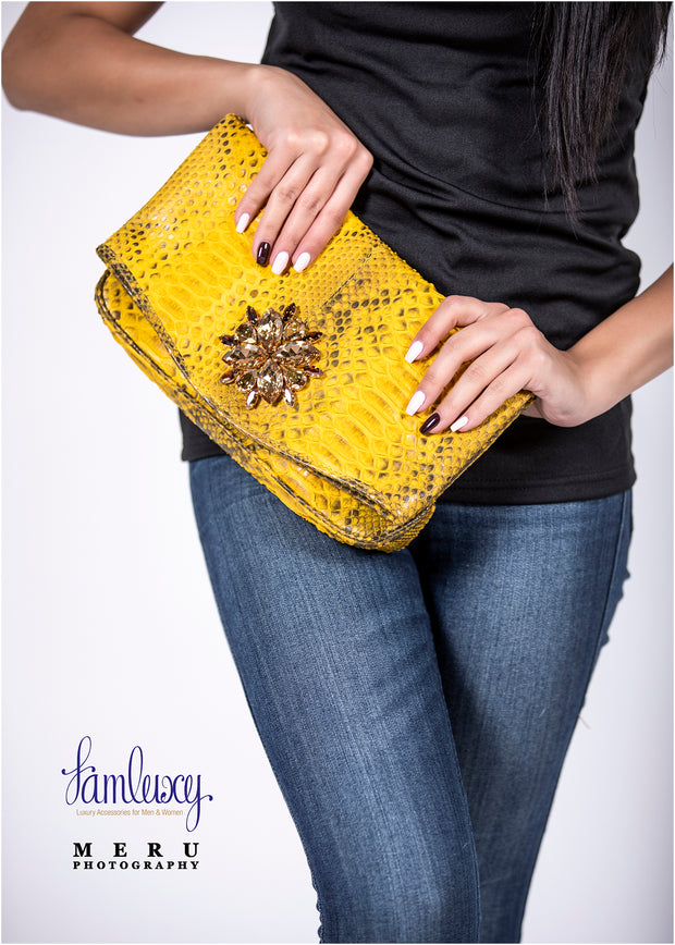 Zinnia Mini Swarovski Clutch Bag; Canary Yellow Python Leather