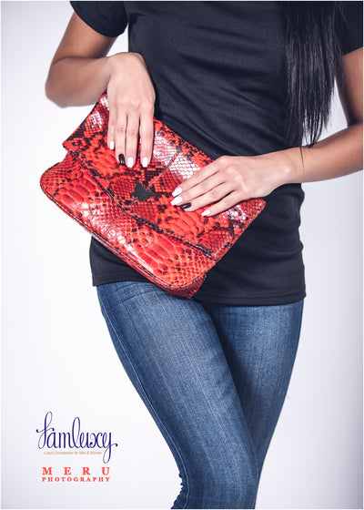 Zinnia Mini Fold Over Clutch Bag; Electric Python Leather