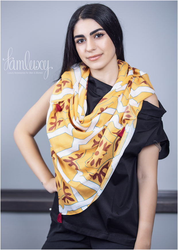 Special Designed Scarf (mix of yellow ,red & white colours)