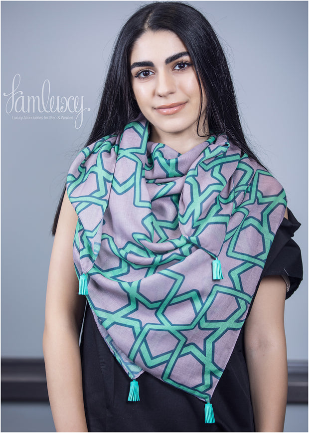 Special Designed Scarf (mix green , navy and grey colours)
