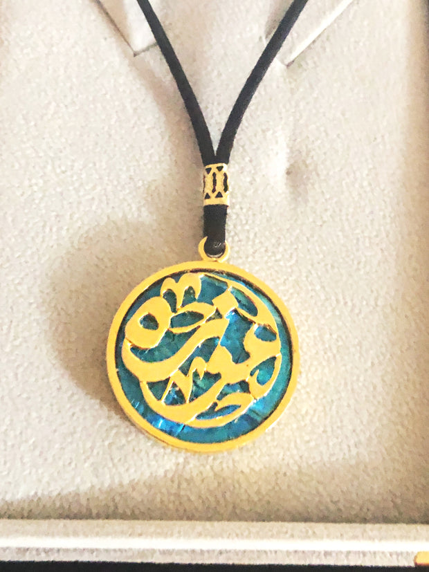 Short necklace , Blue Turkish stone with gold platted design