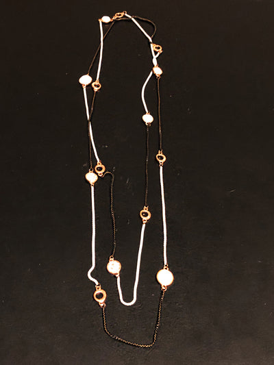 Long Necklace, Black and White with Rose Gold Design