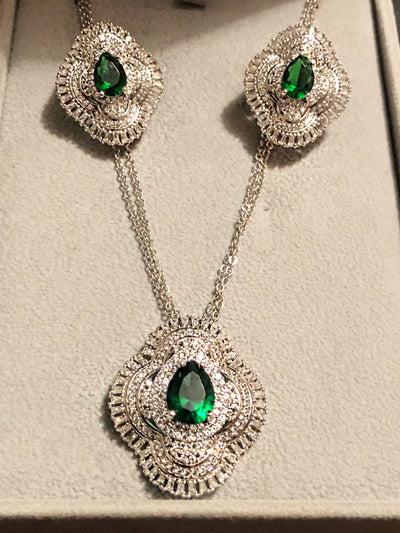 Zirconia Stone With Emerald Stone Set , Sterling Silver