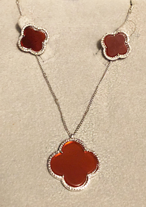 Agate Clover Set ,Sterling Silver