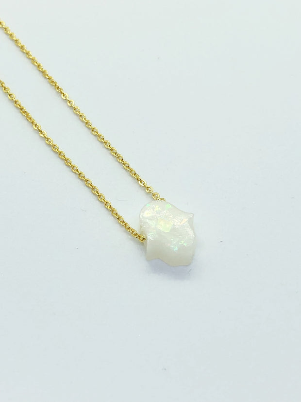 White Mini Hamsa Necklace
