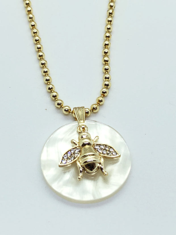 Long White Stone with Bee Necklace