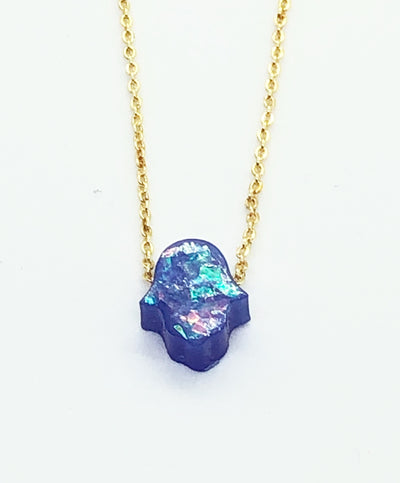 Blue Mini Hamsa Necklace