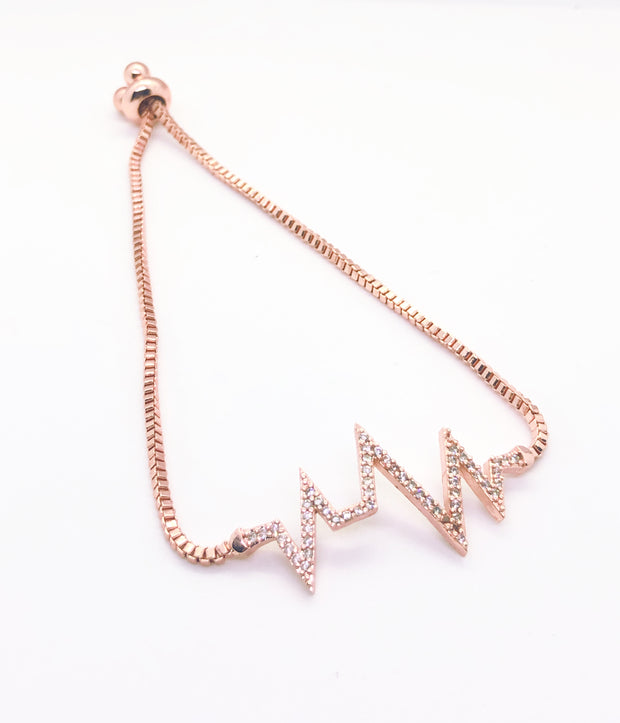 Rose Gold Heartbeat Fitted Bracelet