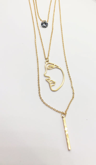 Long Gold Double Face Necklace