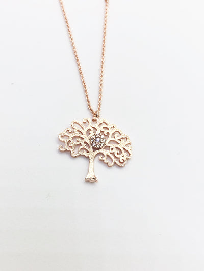 Rose Gold Tree with Stud Necklace
