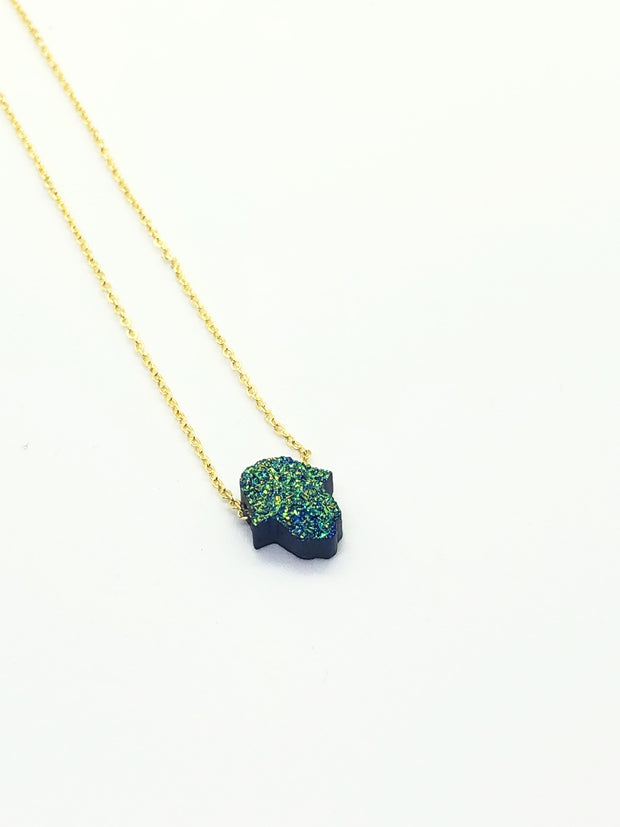 Dark Green Mini Hamsa Necklace