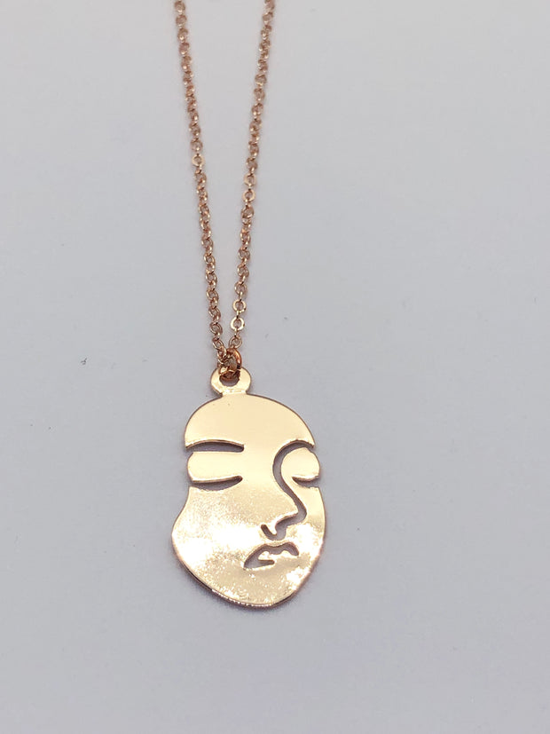 Short Rose Gold Face Necklace
