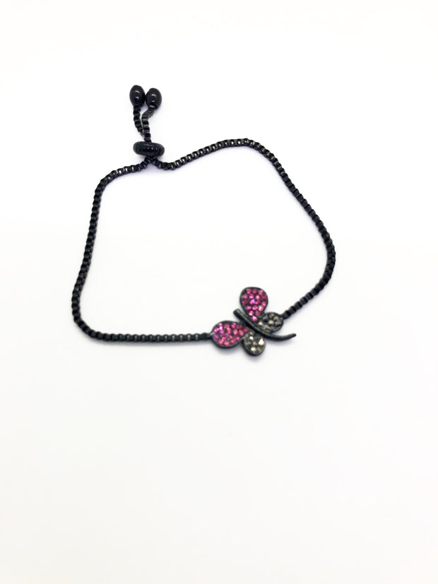 Silver Band Butterfly with Black and Pink Colours