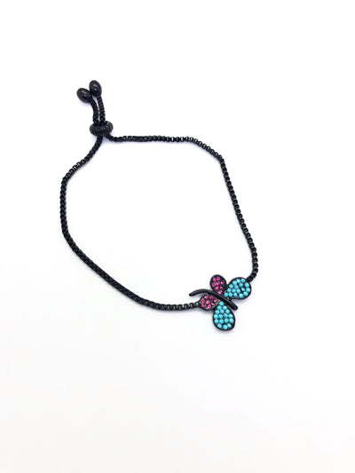 Black Band Butterfly with Light Blue and Pink Colours