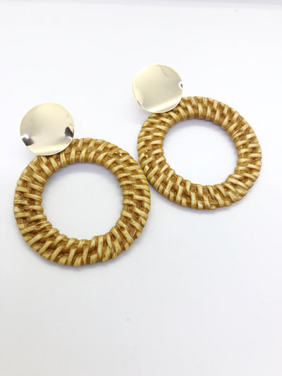 Beige Hawaiian Hoops Earrings