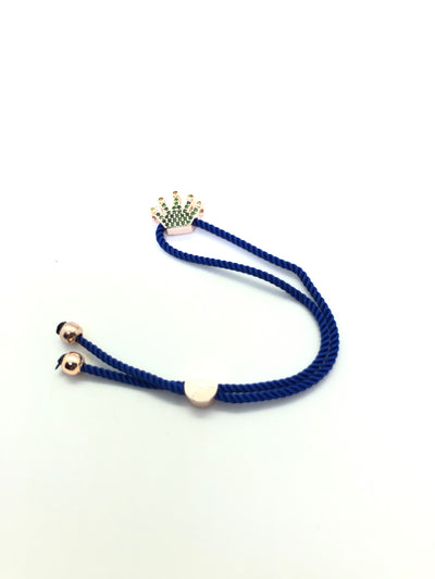 Rose Gold Crown with Dark Blue Band Bracelet