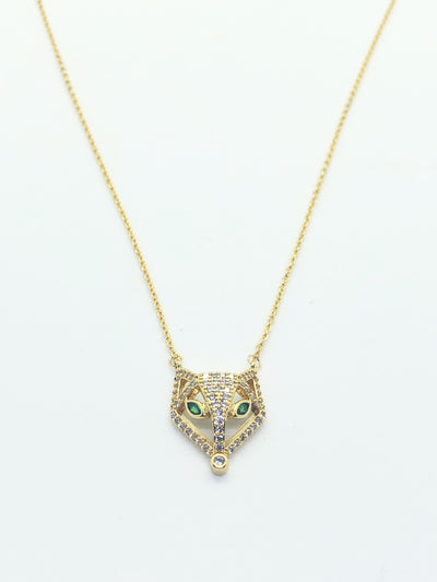 Gold Fox Face Necklace