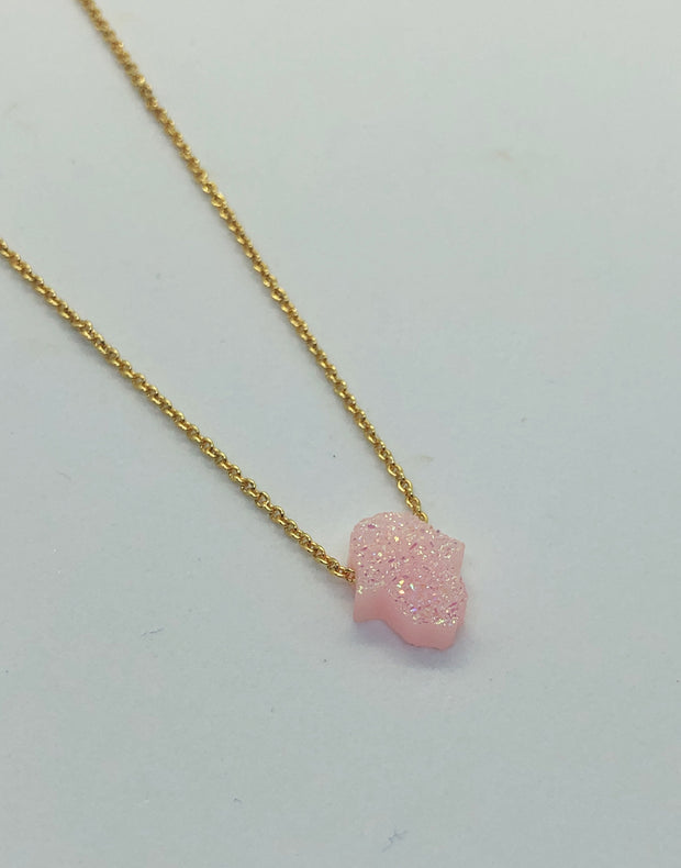 Pink Mini Hamsa Necklace