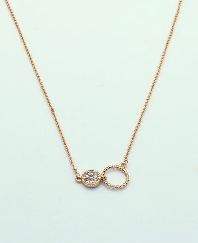 Rose Gold 2 Circle with Stud Necklace