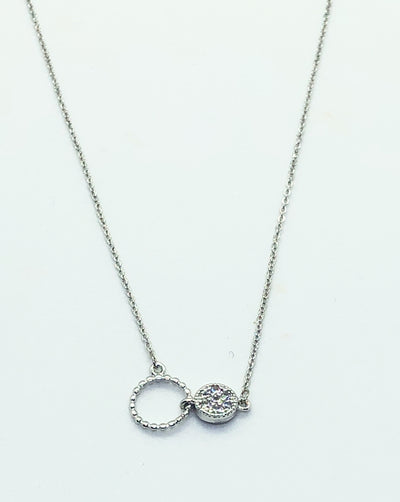 Silver 2 Circle with Stud Necklace