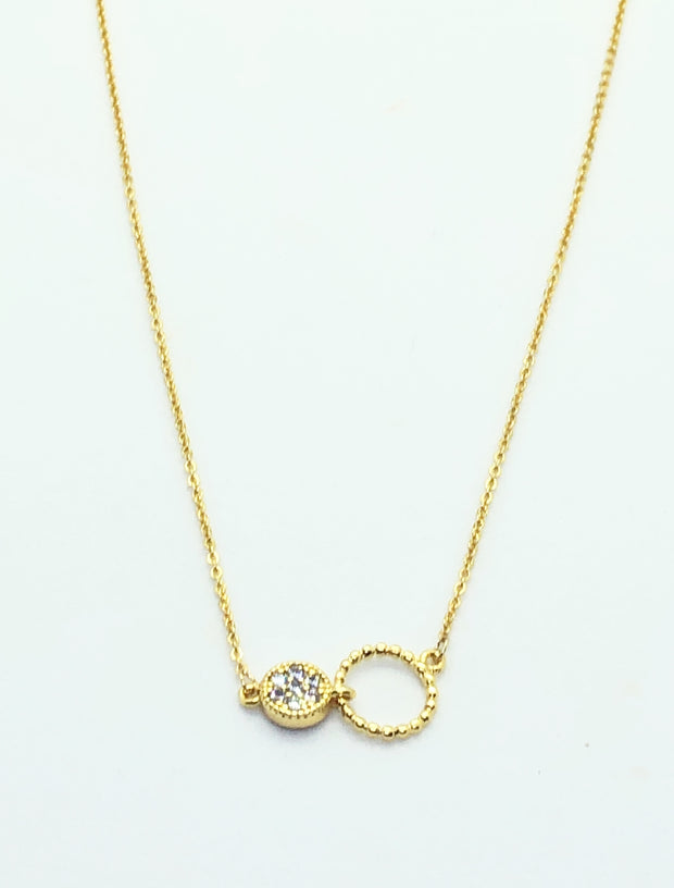Gold 2 Circle with Stud Necklace