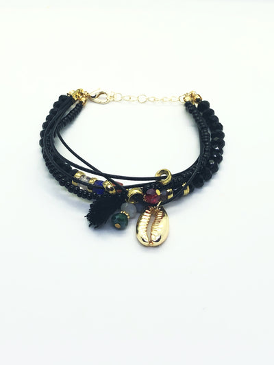 Black Multi Layer Stones Bracelet with Sea Shell