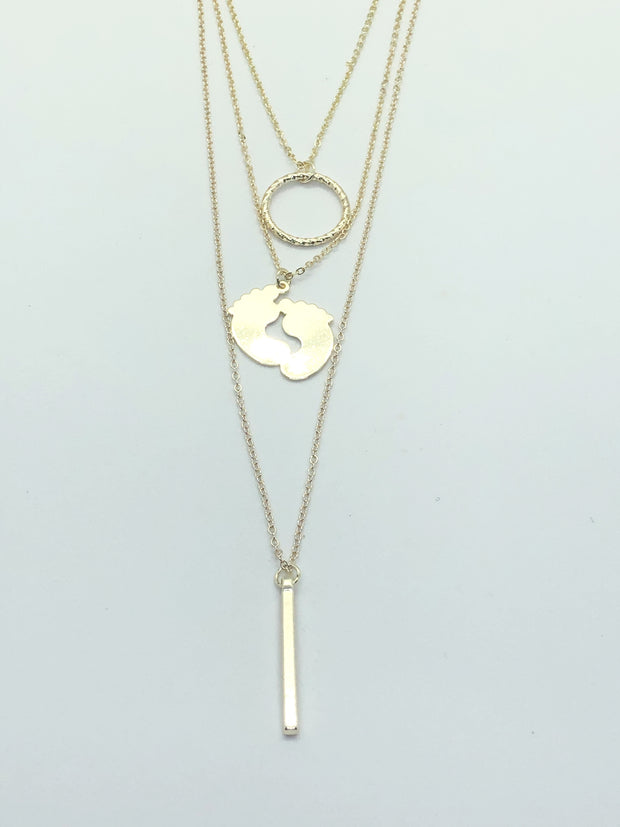 Gold Double Feet Necklace