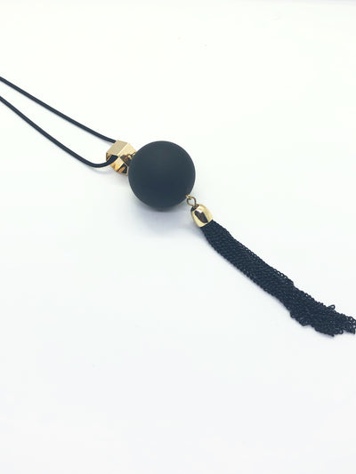 Long Black Sphere Necklace