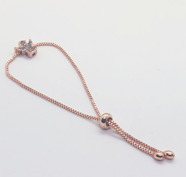 Rose Gold Angel Light Blue & White Bracelet
