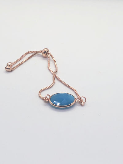Rose Gold Light Blue Stone Bracelet