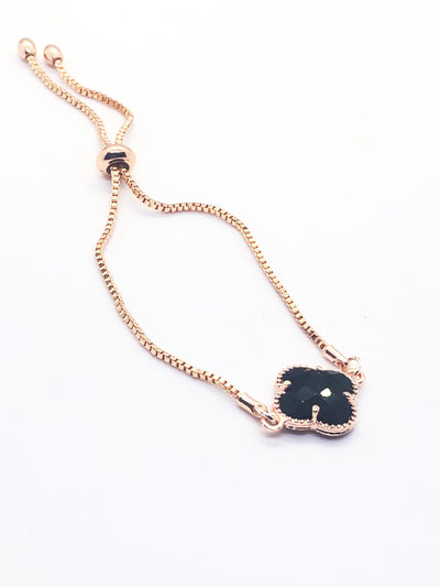 Rose Gold Black Clover Fitted Bracelet